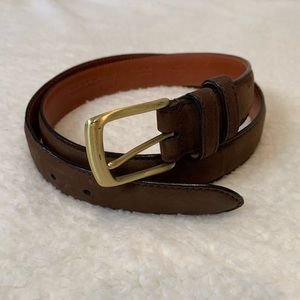 Coach Brown Leather Belt with Solid Brass Buckle